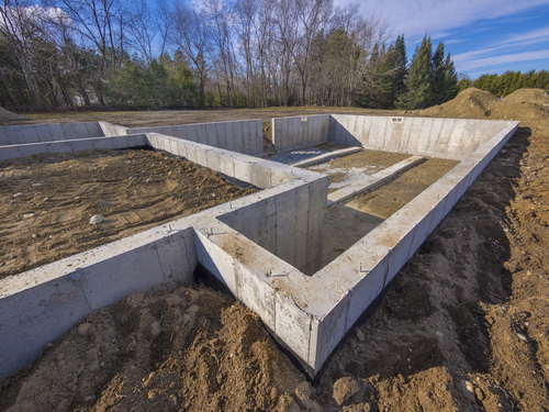 Concrete,Foundation,For,A,New,House